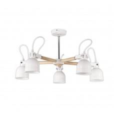 Люстра белого цвета с деревянными элементами в скандинавском стиле white