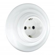 Розетка ретро керамічна + рамка для прихованого монтажу біла