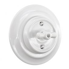 Керамічний вимикач одноклавішний прихованого монтажу білий