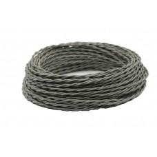 Ретро кабель витой в текстильной оплётке серый