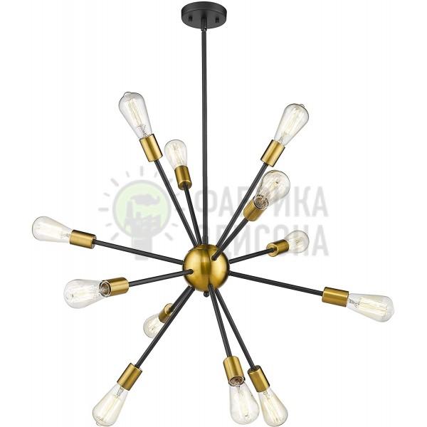 Люстра Sputnik Starburst 12 Light Black&Gold