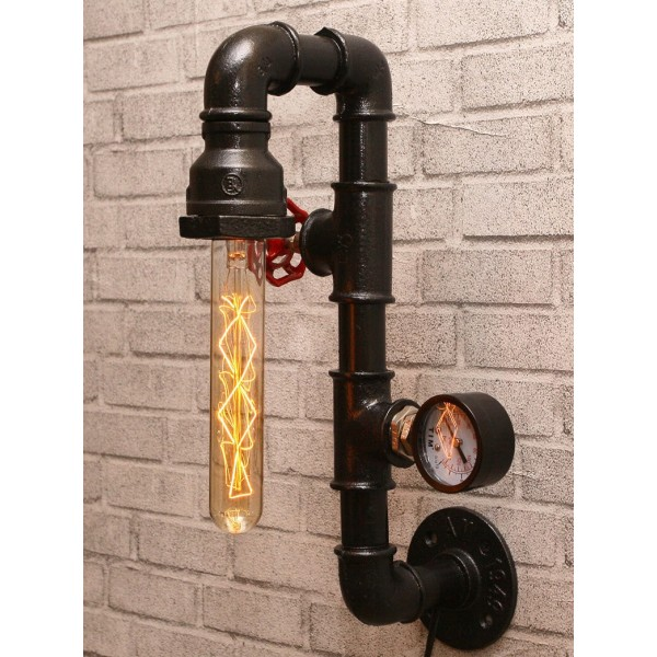 Настінний світильник з труб Long Pipe Black