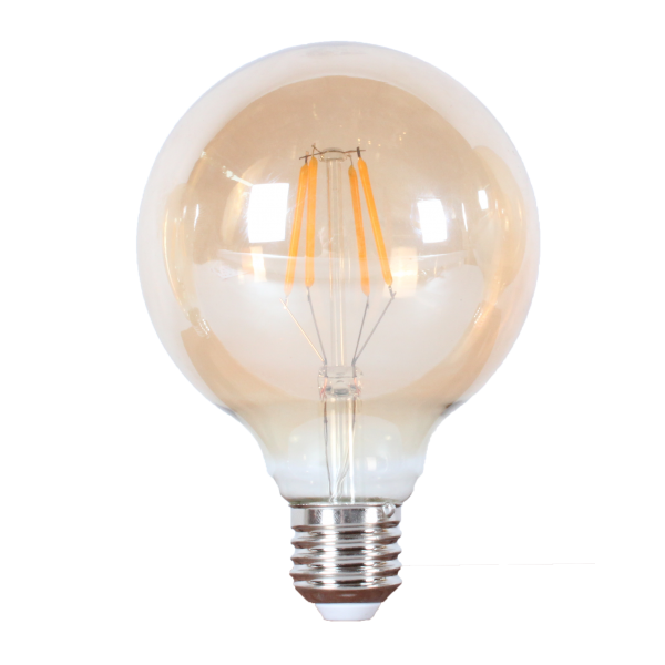 LED лампа Едісона G95 6W 2700 жовте скло
