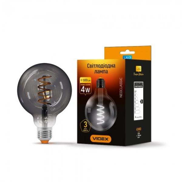 LED лампа G95 4W E27 2100K 220V графит