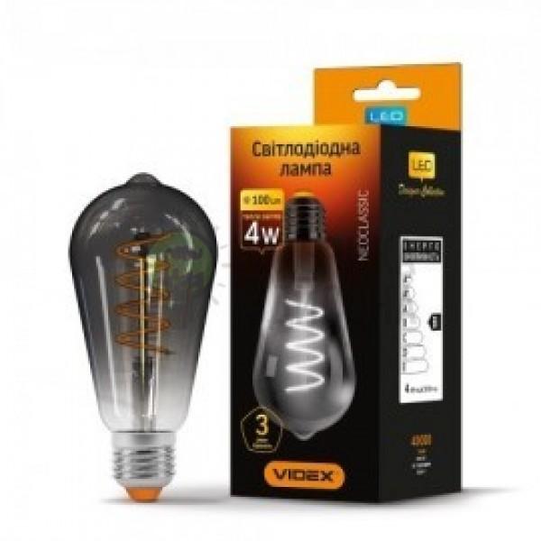 LED лампа ST64 4W E27 2100K 220V графит