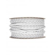 Ретро кабель витой в текстильной оплетке белый