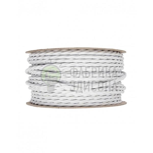 Ретро кабель кручений в текстильній оплетке білий