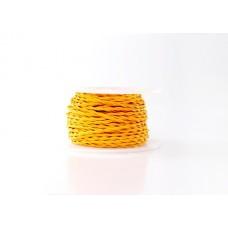 Ретро кабель витой в текстильной оплётке жёлтый