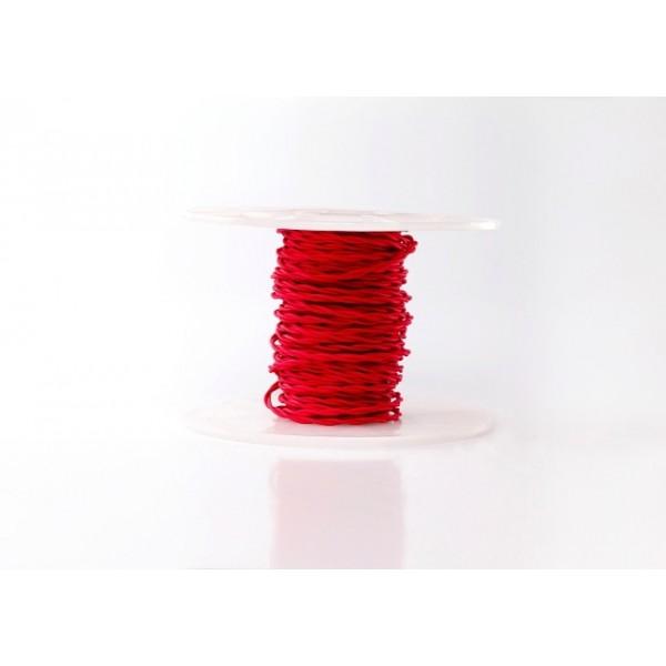 Ретро кабель кручений в текстильній оплетке червоний