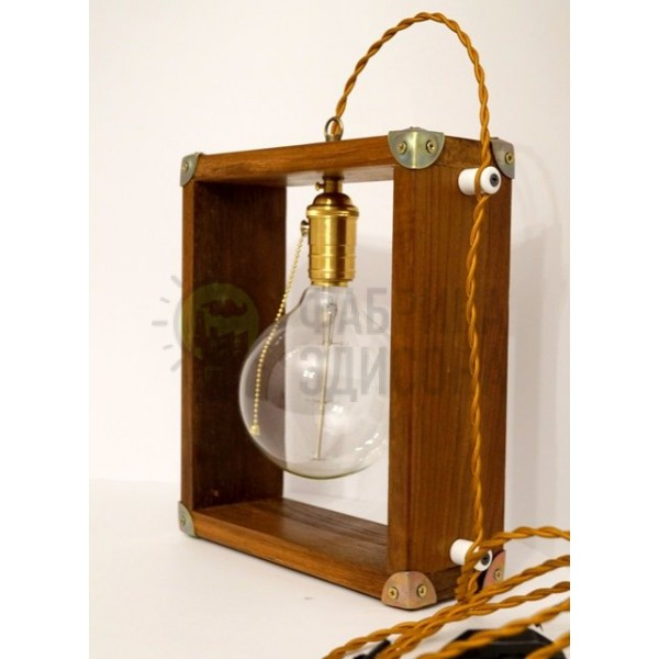 Деревянная ретро лампа 4 sides