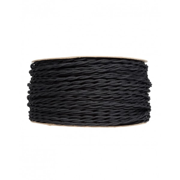Ретро кабель кручений в текстильній оплетке чорний