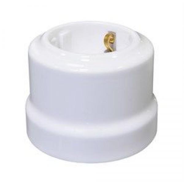 Ретро керамическая розетка Белая